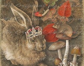 The Hare and His Woodland Friends Digital Collage Greeting Card (Suitable for Framing)
