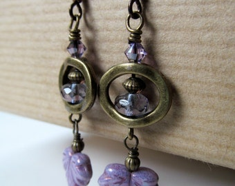 Leaves - Purple Czech Glass Leaf and Crystal Niobium Earrings