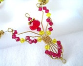 Red and Yellow Beaded Wire Wrapped Angel  Handmade Brass Chain Necklace
