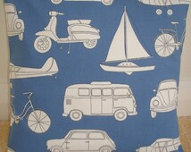 "18x18 Pillow Cover VW Campervan Scooter Mini Bicycle Plane 18"" Cushion Sham Accent Case Slip Pillowcase Campervans Camper Van Funky Retro"