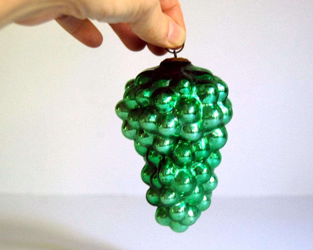 Vintage Kugel Ornament 1800s Green Grapes Glass German