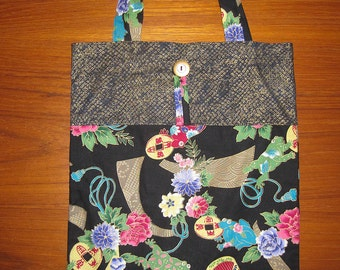 Lucky Frogs Kaeru Tuck and Roll Fold-Up Portable Shopping Tote Japanese Asian Fabric