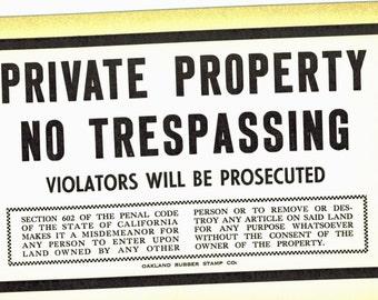 Vintage Letterpress Sign  Cardstock Letterpress Private Property No Trespassing