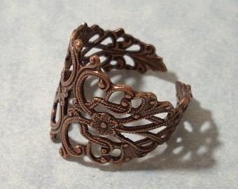 Adjustable Copper Filigree Ring, Adjustable Copper Ring, Adjustable Ring
