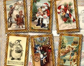 60 Nostalgic Christmas Vintage Art Mini Gift/Hang Tags- THrEE Printable Collage Sheets JPG Digital Files - BaRGAIN