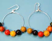 Lovely earrings with multicolor genuine tested vintage 1930/40s bakelite button balls and stamped silver earhooks