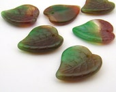Glass leaf beads, green rose vintage repro German large 19mm, 6 pcs