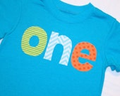 Boys ONE Shirt for First Birthday - Short sleeve 18 month aqua blue shirt with lime green stripe aqua chevron orange polkadot