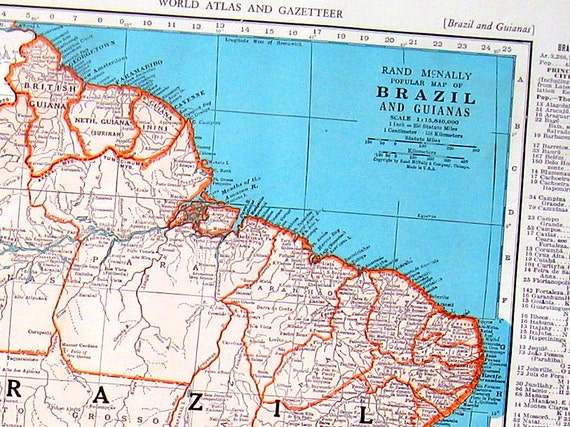 1946 map of brazil map of bolivia world atlas book page like this item gumiabroncs Gallery