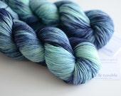 Sock Hand Dyed Yarn - Superwash Merino / Nylon - 463 yards - Borealis - Navy and Light Blue