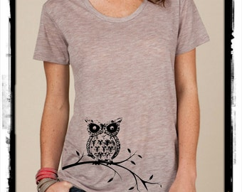 Owl on a Branch boho slouchy t shirt Alternative Apparel KIMBER tee tshirt vintage style screenprint ladies scoop top