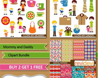 Father's day, mother's day Clipart Bundle.. Mommy and Daddy / Family clipart / digital images