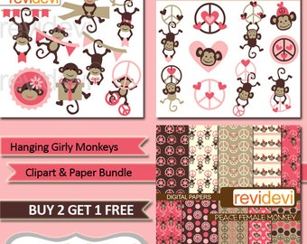 Cute girl monkey commercial use clip art  / Clipart Bundle Hanging Girly Monkeys, pink brown / Valentine clip art, heart, peace sign