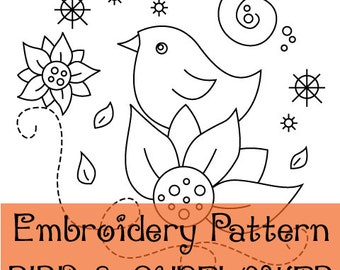 Bird and Sunflower - Embroidery Pattern PDF download - hand embroidery whimsical modern design