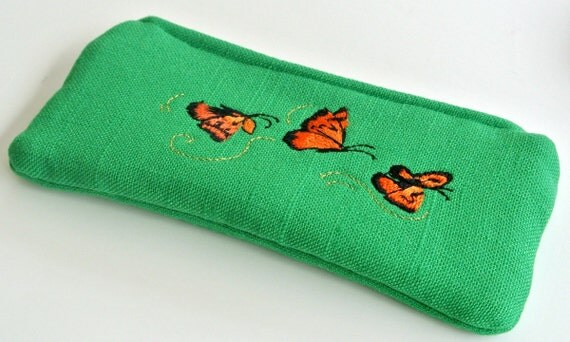 Zipped Soft Eyeglasses Case , Coin Purse/Pouch , Reading Glasses Case , Glasses Sleeve , Change Purse , Money Pouch , Wallet , Butterfly