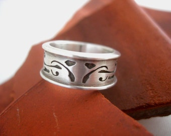 Manuscript Band Ring by bmf jewelry. Hand cut sterling silver.
