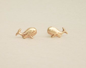 Teeny Tiny Gold Whale Earrings 925 Sterling Silver Post,Bridesmaid Gift. Minimal Jewelry,Animal Jewelry,Everyday Jewelry