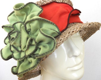 Straw Travel Hat - Seagrass with Flapper Headband - Orange and Lime - Lavinia