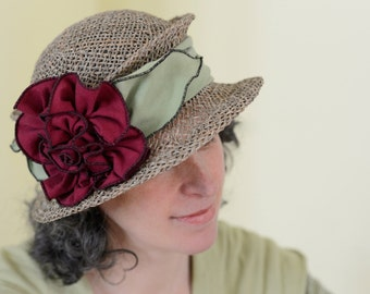 Straw Travel Hat - Seagrass - Organic Jersey Band -Lavinia - Chartreuse and Red