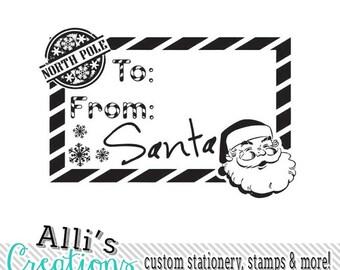 From SANTA Christmas gift Rubber Stamp DIY Santa Claus Gift Tags