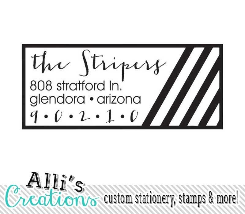 Stripes Return Address Stamp Self Inking Address Label