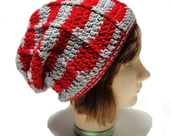 Adult crochet slouch hat, Slouchy hat for adults, Grey red stripped slouch hat, Teen slouch hat, Winter crochet hat, women slouch hats