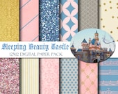 Disneyland Sleeping Beauty Castle 12x12 Digital Paper Pack for Scrapbooking, Party Supplies, Invitations,  -INSTANT DOWNLOAD -