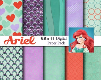 Disney Little Mermaid Ariel Inspired 8.5x11 A4 Digital Paper Pack for Digital Scrapbooking, Party Supplies, etc -INSTANT DOWNLOAD -