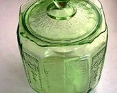 Vintage Hocking 1930s Green Depression Princess Glass Cookie Jar