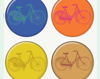 Bicyles Magnets or Pinback Buttons or Flatback Medallions Set of 4
