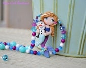 Custom Boutique Frozen Anna mermaid necklace RTS Hapa Girl Boutique last one left