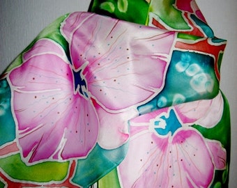 Hand Painted Silk Scarf Orchids women fashion Pink Green