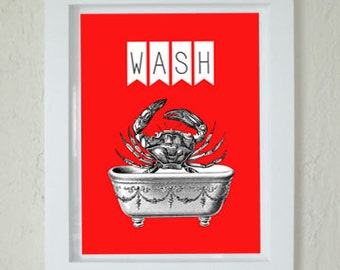Printable Art - Crab Print - Instant Download Art - Red Nautical Bathroom Print - Wash Sign - Beach Cottage Bath - Print at home - Modern