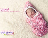 Knitting Pattern Photo Prop Luna Hooded Cocoon Baby Girl or Boy Photo Shoot Prop or Shower Gift - The ORIGINAL by TrickyKnits