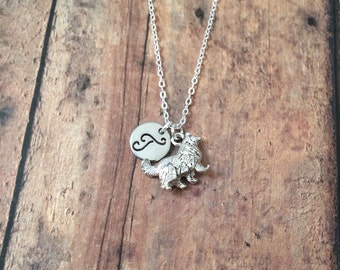 Collie initial necklace - collie dog jewelry, sheltie jewelry, dog breed jewelry, dog necklace, sheltie necklace, silver collie necklace