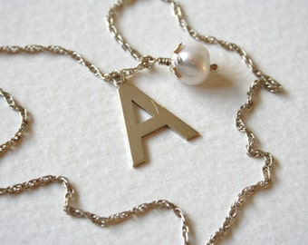 Vintage Sterling Silver Charm Necklace A is For Awesome