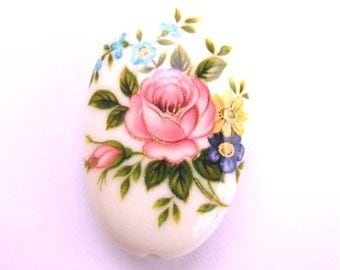 JAPANESE TENSHA Pink Rose White Focal OVAL Bead 32x20x8mm