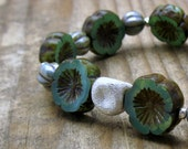 Aqua Brown Floral Bohemian Beaded Bracelet / Pansy Flower Power / Karen Hill Tribe Sterling Silver / Woodland / Nature