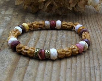 Carved Sandalwood Natural Mookaite Modern Beaded Bracelet Neutral Natural Stacking Bracelet Harvest Woodland