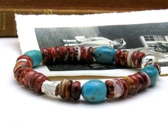 Natural Turquoise and Red Bohochic Beaded Bracelet, Boutique Wearable Art, Arizona Turquoise, Southwestern, Unisex Under 250