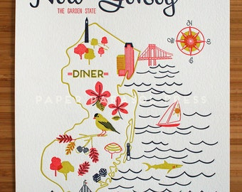 New Jersey State Letterpress Print 8x10