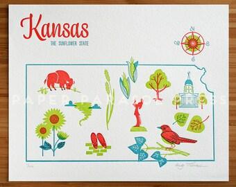 Kansas State Letterpress Print 8x10