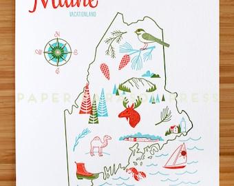 Maine State Letterpress Print 8x10