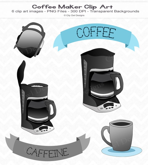 Clip Art Coffee Maker ~ Items similar to coffee maker clip art digital