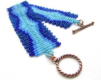 Wave Cuff Tutorial, Beadweaving Tutorial, Intermediate Bead Pattern, Herringbone and Ladder Stitch Bracelet Instructions