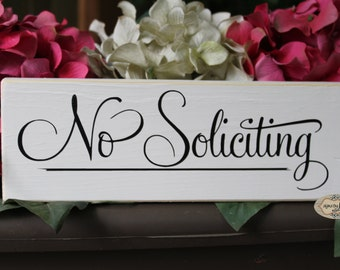 No Soliciting front door sign, welcome sign - Style NS13A
