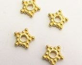 Star Beads Bali Gold Vermeil over Sterling Silver Star Spacer Beads 6mm (10 beads)