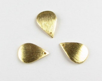 13mm Curved Petal Teardrops Shaped Bali Vermeil Brushed Line Texture Charms Components (6 beads)