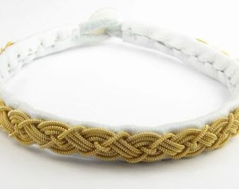 Gold and White Ann Bracelet - Leather Wrap Gold Metal Thread Sami Braided Bracelet with Reindeer Leather and Antique Button Clasp