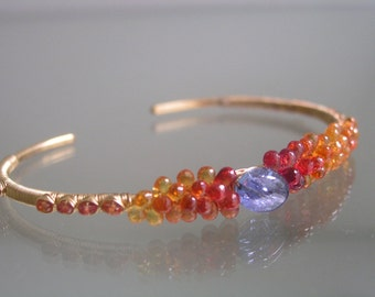 Sapphire Cuff - Orange Sapphire Gold Filled Cuff - Stackable Tanzanite  - Wire Wrapped Bracelet - Encrusted - Timeless - Signature Original